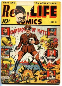 REAL LIFE COMICS #3 1942 Famous HITLER cover-Schomburg-Nedor