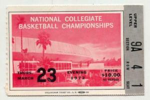 NCAA Final Four Basketball Championship Ticket Stub March 23 1972