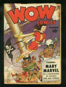 WOW COMICS #19 1943-MR SCARLET-PIRATE COVER-MARY MARVEL- good+ G+