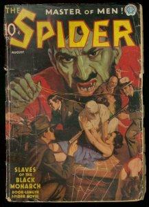 THE SPIDER AUG 1937 BLACK MONARCH WEIRD MENACE CVR PULP G-