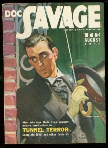 DOC SAVAGE AUG '40-TUNNEL TERROR-HAM BROOKS-BILL BARNES VF