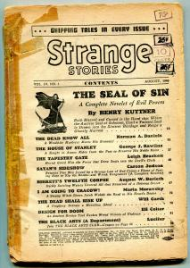 Strange Stories Pulp August 1940- Seal of Sin- Satan's Sideshow- coverless