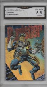 Punisher 1994 Marvel Universe #2 Powerblast Card Graded 8.5