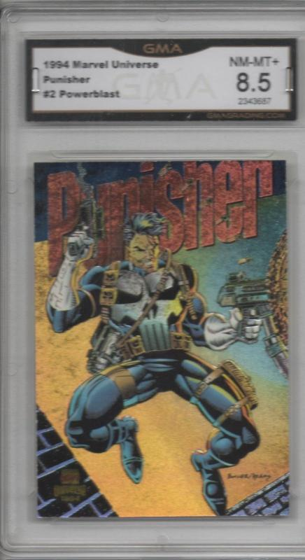 Punisher 1994 Marvel Universe #2 Powerblast Card Graded 8.5