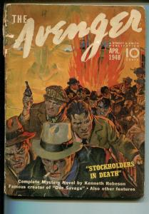 Avenger  4/1940-Stockhoders In Death-Kenneth Robeson-hero pulp-FR/G