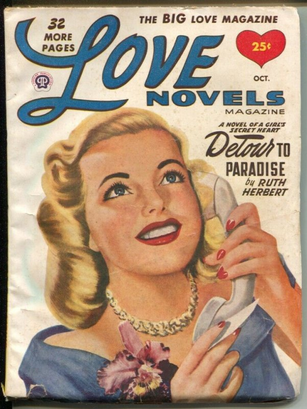 Love Novels 10/1949-pin-up girl cover-female pulp fiction authors-VG