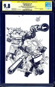 Transformers #1 ONE STOP BLANK CGC SS 9.8 SOUNDWAVE SKETCH by Alex Milne LYDIC
