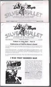 Lone Ranger Silver Bullet Newsletter Lot 1990's-4 issues-Clayton Moore-TV-Movie-