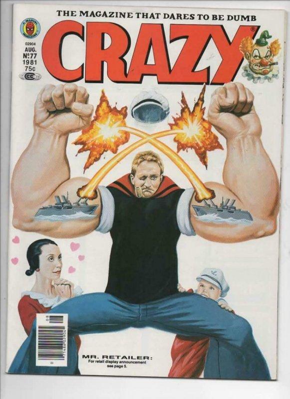 CRAZY #77 Magazine, VF+, Popeye, Robin Williams, Hulk, 1973 1981, more in store