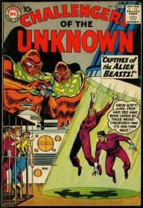 CHALLENGERS OF THE UNKNOWN #14 ALIEN BEASTS COVER 1960 VG+