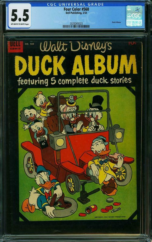Four Color #560 CGC 5.5 Walt Disney's Duck Album PAUL MURRY & TONY STROBL 1954