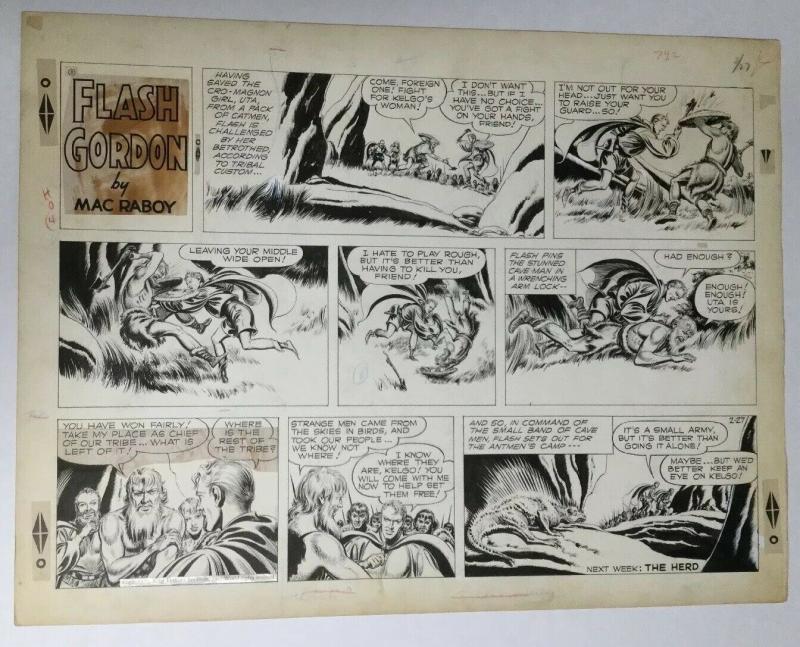 Flash Gordon Original Art Sunday Strip 1955 Mac Raboy Very Fine Condition