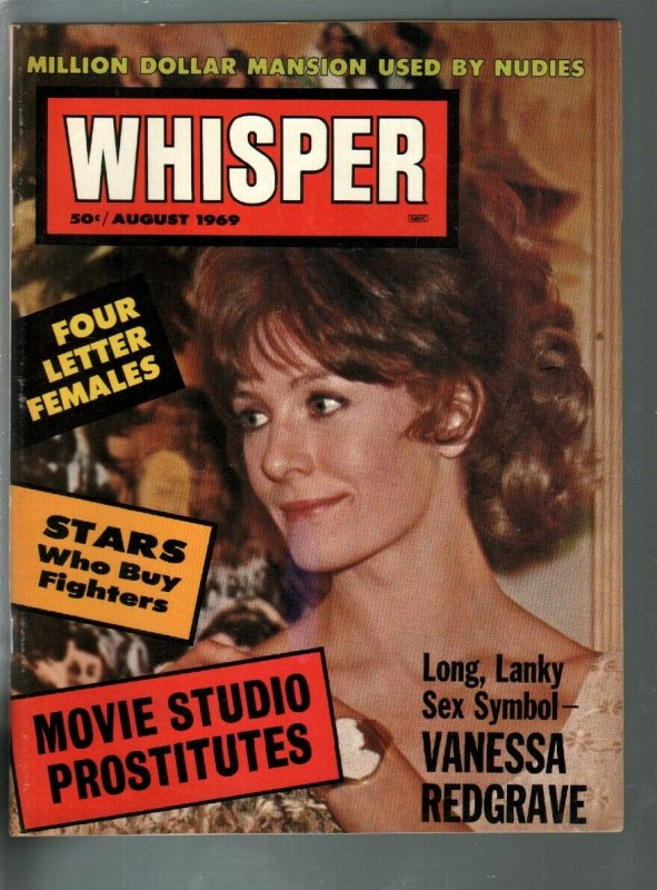 Whisper 8/1969-Vanessa Redgrave-drug addicts-topless dancers-exploitation-VF-