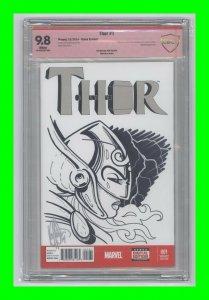 Thor #1 2014 Marvel Jane Foster as Thor Sketch/Signed Ken Haeser Sketch CBCS 9.8
