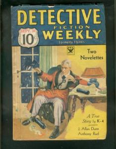 DETECTIVE FICTION WEEKLY PULP-9/30/33-PIPE BOMB COVER   VG