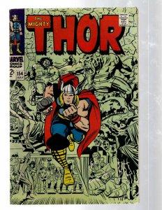Mighty Thor # 154 FN Marvel Comic Book Loki Odin Asgard Sif Avengers Hulk RB8