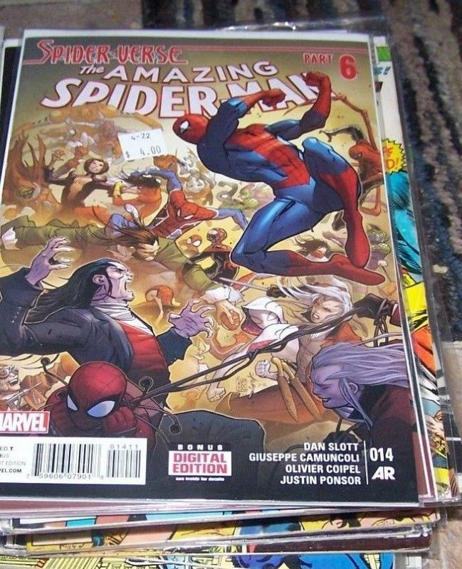 Amazing Spider-Man #14 (April 2015, Marvel) spider verse pt 6 spider gwen silk