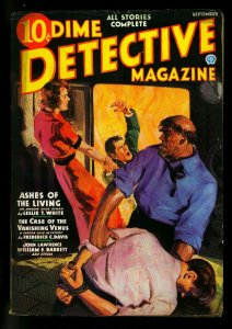 Dime Detective September 1936- Singer cover- Frederick C Davis- VG+