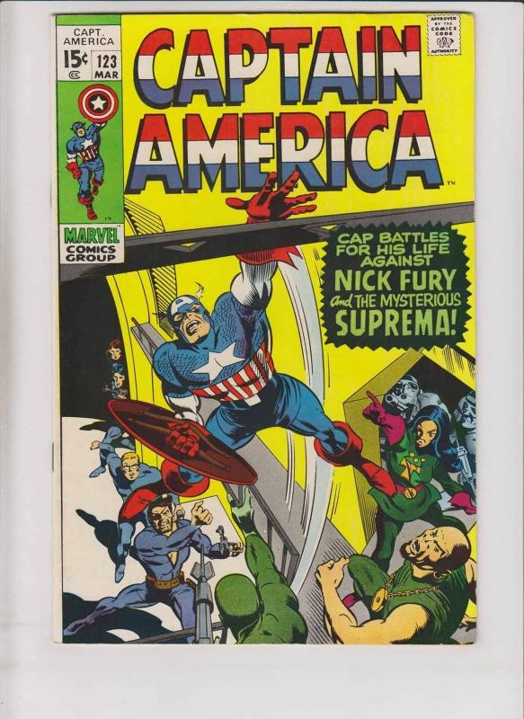 Captain America #123 VF march 1970 - stan lee - gene colan - nick fury - suprema