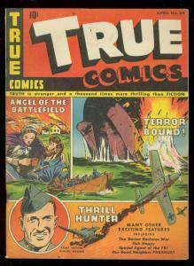 TRUE COMICS #34 1944-ANGEL OF THE BATTLEFIELD-WW II-FBI FN