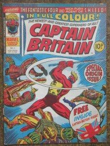 CAPTAIN BRITAIN #1 (Marvel UK, 10/1976) VG NO MASK- TEAR ON LOWER STAPLE