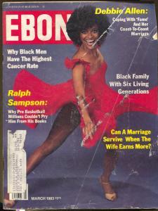 Ebony 3/1983-Debbie Allen-Ralph Sampson-High Cancer Rate for Black Men-VG