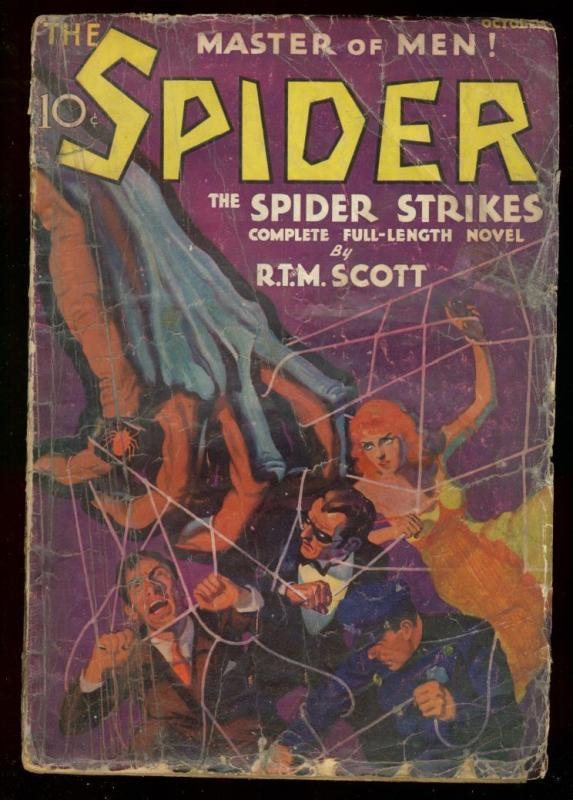 THE SPIDER OCT 1933 SPIDER STRIKES BY RTM SCOTT #1 PULP FR/G