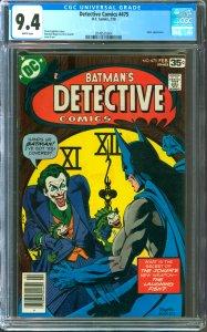 Detective Comics #475 CGC Graded 9.4 Joker appearance