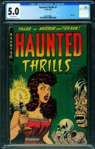 Haunted Thrills #1 CGC 5.0 1952-Pre-code Horror-Cross dressing-Vampires 20916...