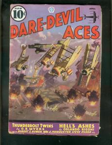DARE-DEVIL ACES-PULP-APRIL 1936-THUNDERBOLT TWINS-WW I  FN-