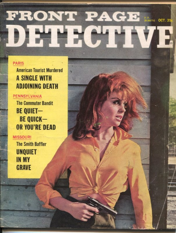 Front Page Detective 10/1963-Dell-spicy gun moll cover-murder-terror-violence...
