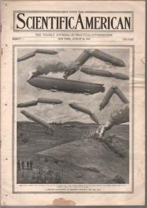 Scientific American 8/16/1913-zeppelin crash cover-100+ years old-G/VG