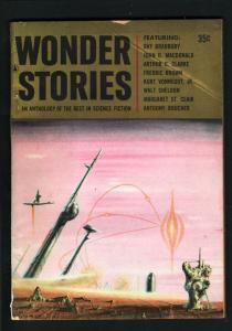 WONDER STORIES 1957-JOHN D MACDONALD-ARTHUR C CLARKE VG/FN