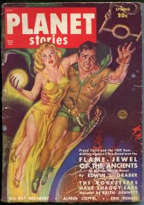 Planet Stories -Spring 1950-Fiction House-Sci-fi pulp thrills-Ray Bradbury-VG-