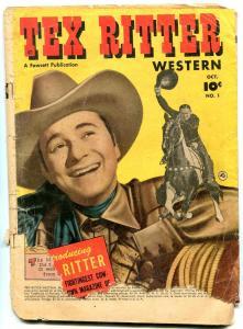 Tex Ritter Western #1 1950- Rare Golden Age Fawcett