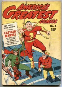 America's Greatest Comics #4 1943- Captain Marvel- Spy Smasher VG+