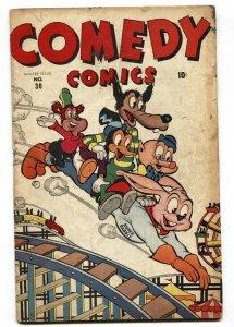 Comedy #30 1945- Timely Funny Animals- Super Rabbit Roller Coaster cvr