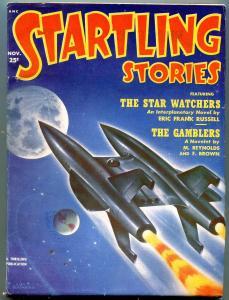 Startling Stories Pulp November 1957- Schomburg cover- When Worlds Collide VG/FN