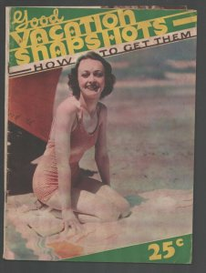 Good Vacation Snapshots 1937-1st issue-Swimsuit girl cover-How to take good p...