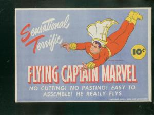FLYING CAPTAIN MARVEL-1944-UNCIRCULATED RARE PAPER TOY VF/NM