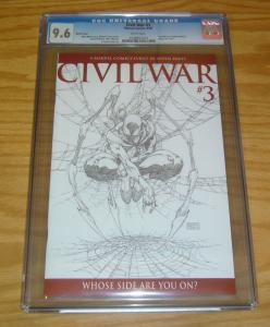 Civil War #3 CGC 9.6 michael turner 1:75 sketch variant - iron spider spider-man