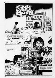 RICHARD CORBEN original art, SLASH & BURN pgs 22-23, FIRE SALE, Signed, 2 pages