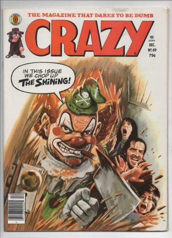 CRAZY #69 Magazine, VF, Obnoxio the Clown, Shining Stephen King, 1973 1980