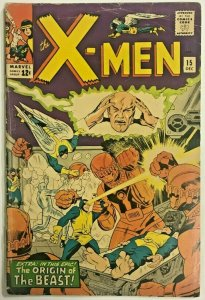 UNCANNY X-MEN#15 VG SPINE IN GOOD 1965 SENTINELS MARVEL SILVER AGE COMICS