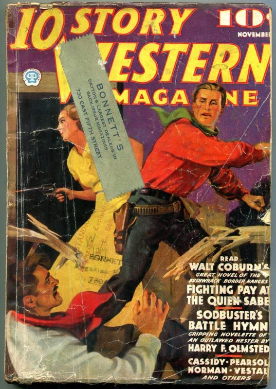 10 Story Western Pulp November 1936- Walt Cobun- Harry Olmsted G/VG