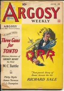 Argosy 6/28/1941-Red Star-Philip Wylie-pulp stories-Kjelgaard-FR