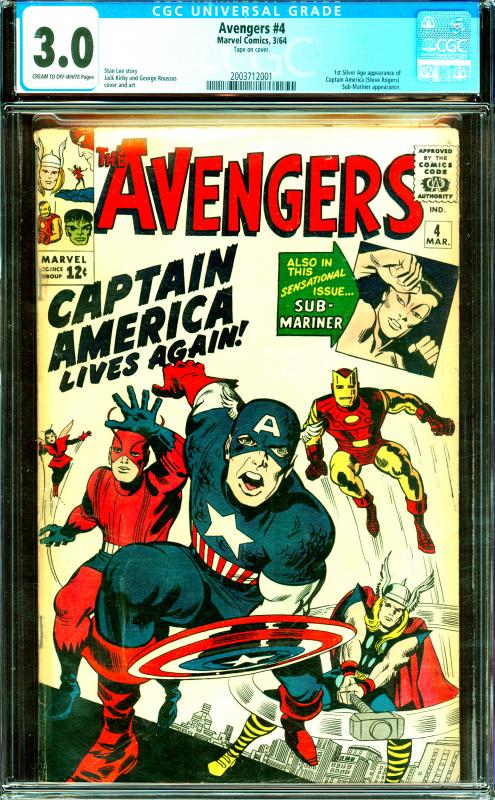 Avengers #4 CGC Graded 3.0 1st Silver Age Cap. America, Sub-Mariner App