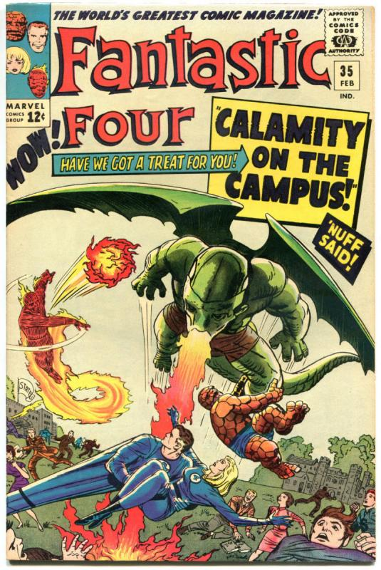 FANTASTIC FOUR #35, VF+, Dragon Man, Jack Kirby, 1961, more FF in store, QXT