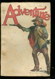 ADVENTURE PULP -MAY 1917-H RIDER HAGGARD-TALBOT MUNDY G/VG