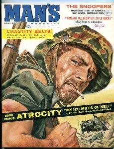 Man's Magazine July 1960-Klan Plot to Blow Up Little Rock- Snoopers VG/FN